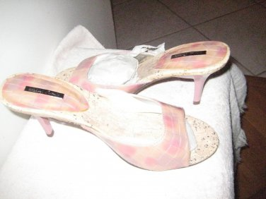 Pink Leather Mules w/decorative blocks of purple, tan, Med Open toe 6.5 for occ