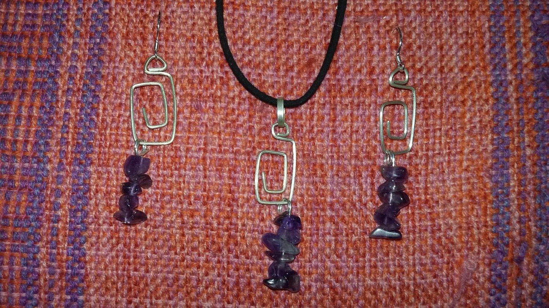 Amethyst Sterling Silver Earrings & Pendant set Interchangeable dangles