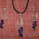 Amethyst Sterling Silver Earrings & Pendant set Interchangeable dangles