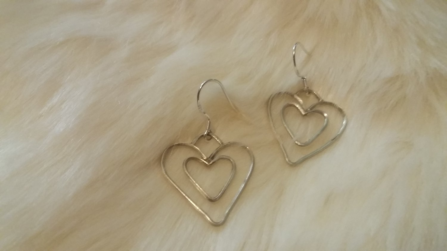 "Sterling Silver Double Heart Earrings dangle 1 1/2"" long"