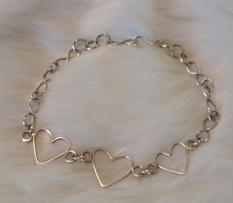 """Triple Heart sterling silver Bracelet 6"""" to 8"""""""