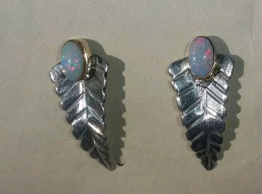 Sterling Silver Leaf  & Opal Earrings one of a kind