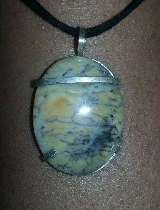 Sterling Silver Sunset Picture Jasper pendant 1 3/4""