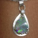 Sterling silver Australian Crystal opal and diamond pendant