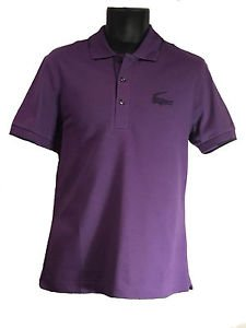 Lacoste Mens Semi Fancy Pique Polo Large Croc, Regular Fit, Size 5, Grape, NWT