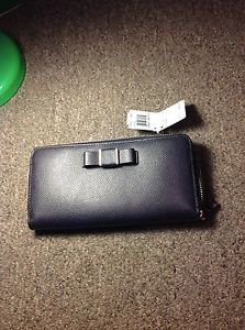 Coach Bow Leather Accordion  Zip Wallet, Midnight, NWT