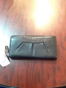 Coach Leather Pleated Zip Around Wallet, Black, F45302, New-5