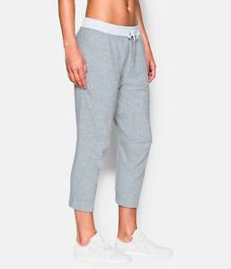 Under Armour Women's UA Studio Terry Crop Capri Pants (White / Grey) 1277296