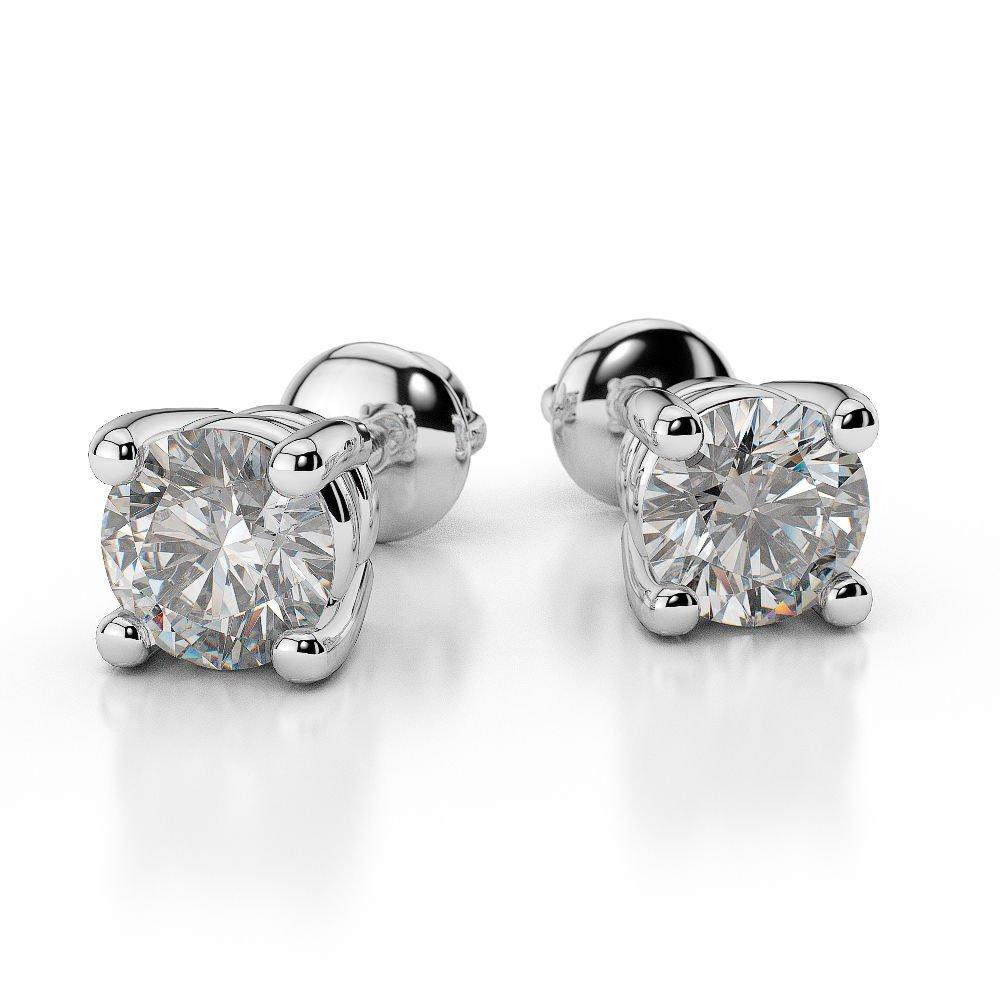 0.25 Carat Round Shape Diamond Stud Earrings in 14k White Gold - Screw Back