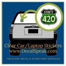 HWY 420 Clear Car/Laptop Sticker
