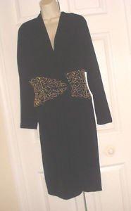 VINTAGE Lillie Rubin Black Cocktail WRAP Dress/Coat Gold Beaded Mid BLING SZ 8