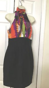 TRINA TURK DRESS  SZ 4 Silk Contrast Cotton Blouson Dress Abstract Print 4