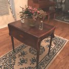 "1890 DROP LEAF TEA TABLE MAHOGANY INLAID 39L""X32""H APPRASIAL  ON WHEELS SHERATON"