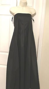 TADASHI BLACK MAXI EVENING GOWN SIZE 6 STRAPLESS  TAFFETA SOFT PLEATS STRETCH 6