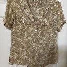 TOMMY BAHAMA SILK  SPANDEX TOP BLOUSE SHIRT SHORT SLEEVE TROPICAL SZ XS