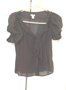 Anthropologie Odille Silk Blouse Top Size 0 Sheer Brown  Romantic Elegant EUC 0