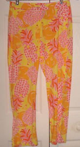 LILLY PULITZER CROPPED PANTS SIZE  4 PINEAPPLES ORANGES  FLORAL TROPICAL PRINT