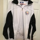 "Vintage Reebok NFL Pittsburgh Steelers Jacket Men's L Chest 46"" White & Navy"