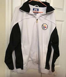 "Vintage Reebok NFL Pittsburgh Steelers Jacket Men's L Chest 46"" White & Navy"