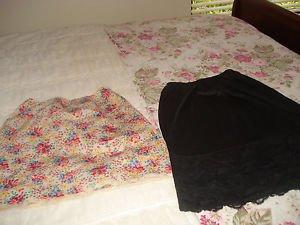 60S Saks Fifth Ave Floral Half Slip and 100% Nylon Black Laced Half Slip USA S 8