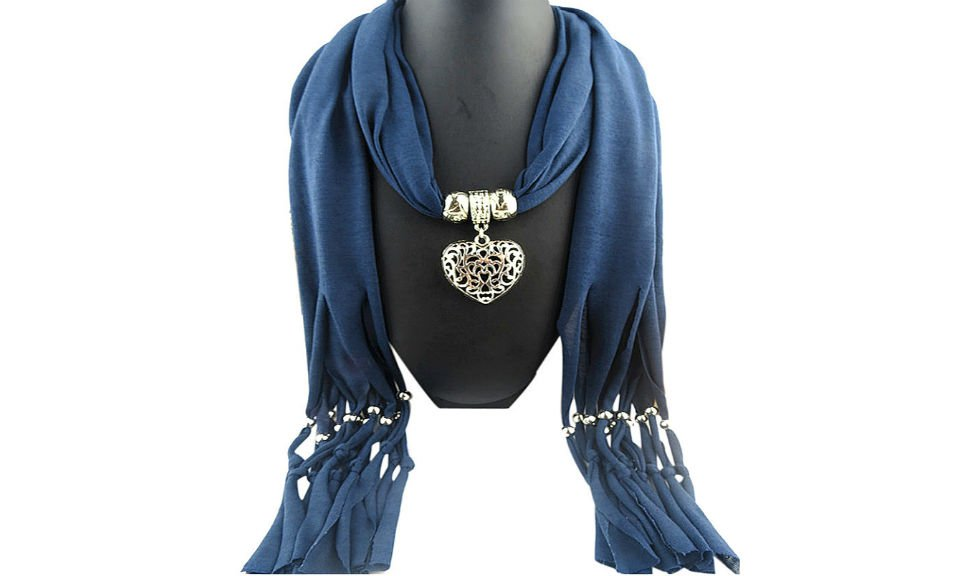 Blue Scarf Double sided Heart Pendant