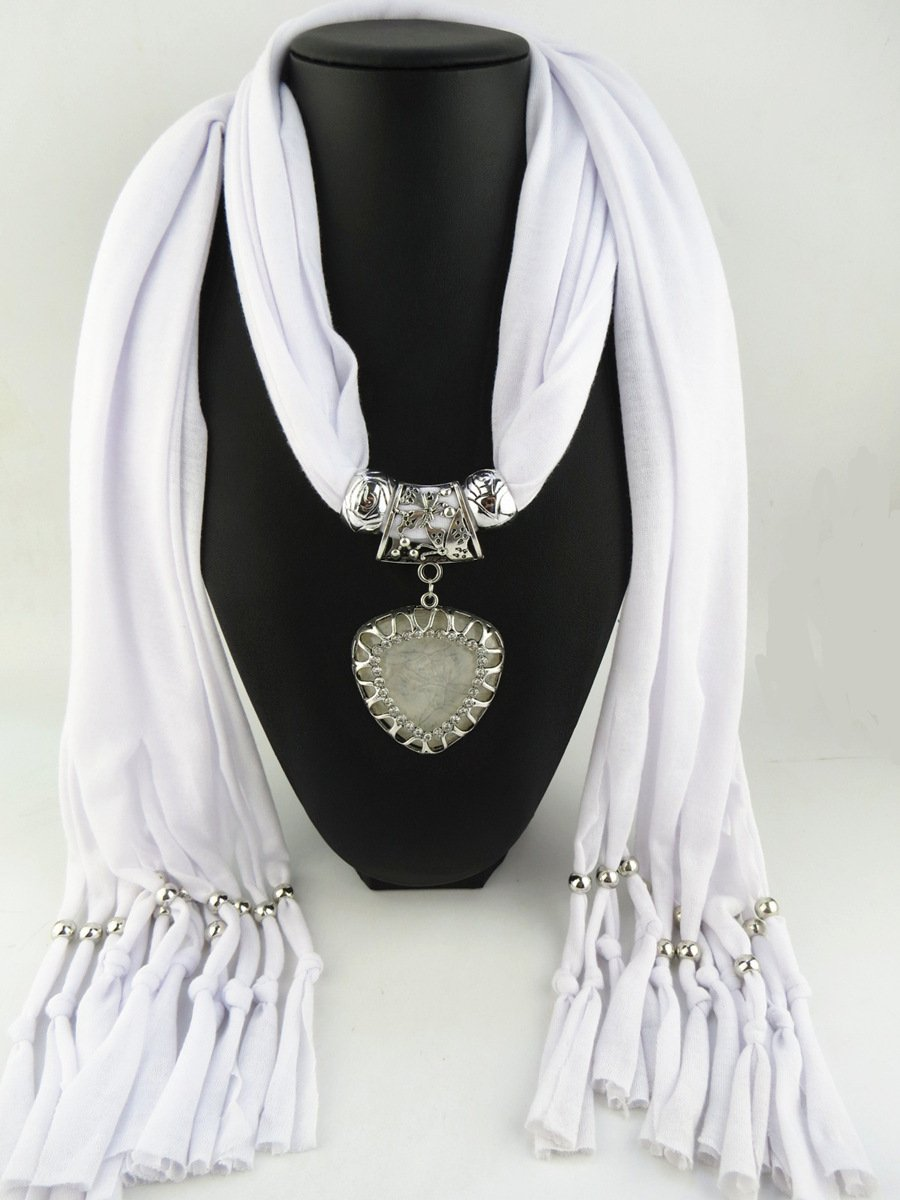 White Scarf Faux Gem Heart Pendant