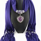 Blue Scarf Faux Gem Heart Pendant