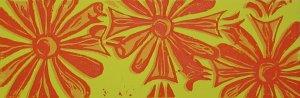 Blumen - four color linoleum block print - Kathe Welch