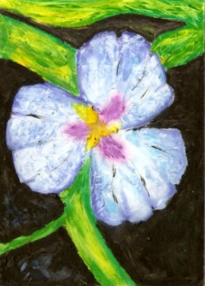 Blue Flower on Vine - Original Oil Pastel Drawing - Kathe Welch