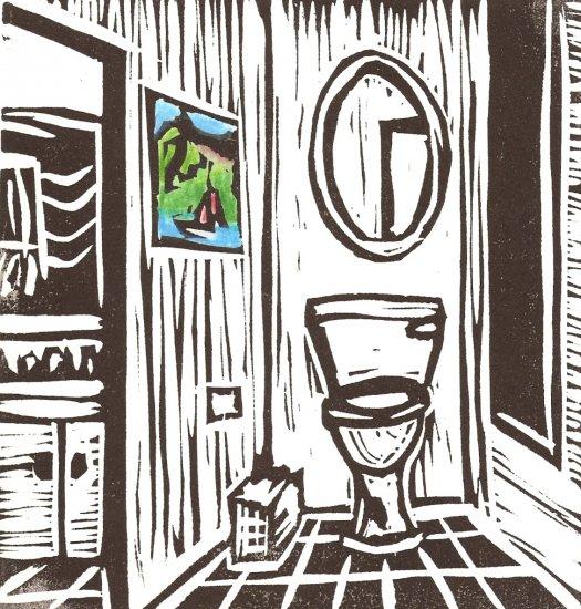 The Bathroom - Hand-colored Original linoleum print - Kathe Welch