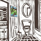 The Bathroom - Hand-colored Original linoleum print - Kathe Welch