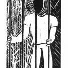 Jail - linoleum block print - Kathe Welch