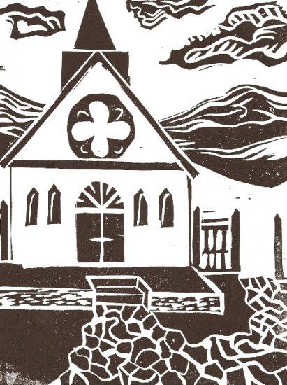 The Church - linoleum block print - Kathe Welch