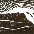 River - linoleum block print - Kathe Welch