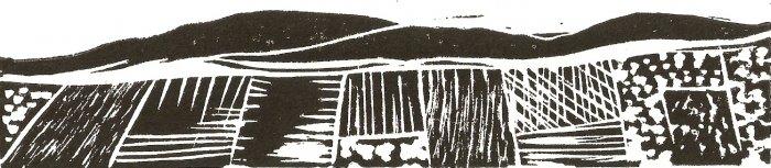 Valley - linoleum block print - Kathe Welch