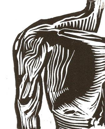 Arm - linoleum block print - Mark Knot