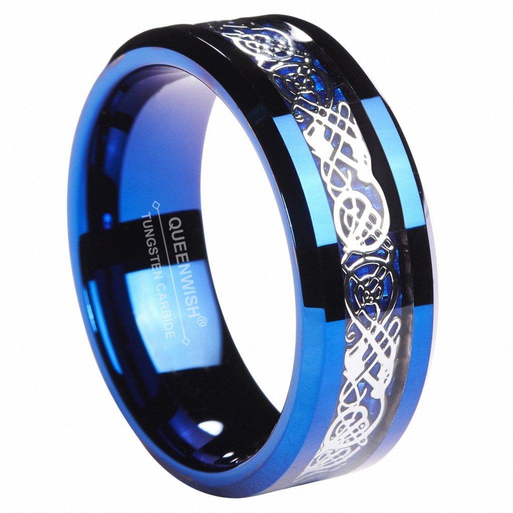 Queenwish 8MM Blue Tungsten Celtic wedding Ring Mens Wedding Band size 10