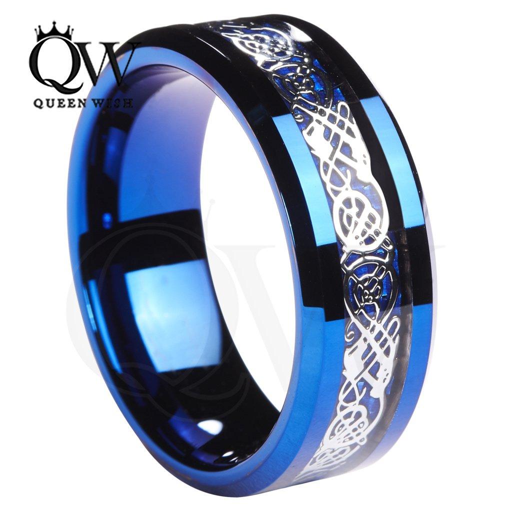 Queenwish 8MM Blue Tungsten Celtic wedding Ring Wedding Band size 6