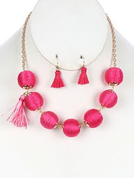 NECKLACE AND EARRING SET COLOR CORD WRAPPED CHUNKY