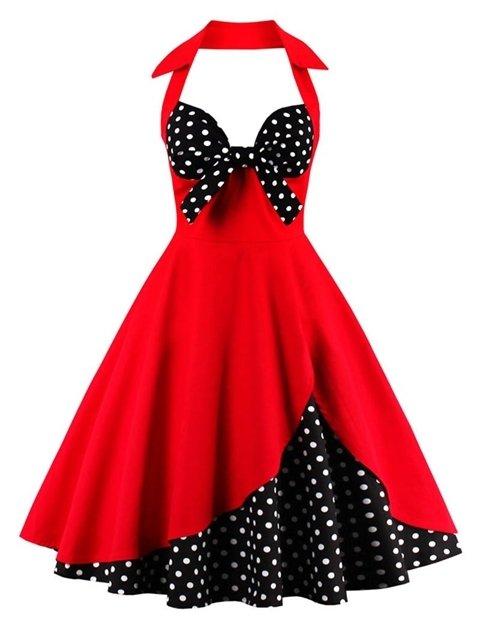 Halter Floral Polka Dot Vintage Dress