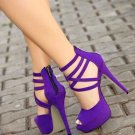 Viola Purple Ankle Wrapped Sandals with Platform
