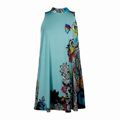 2 FOR 1 CLOTHES Stand-up Collar Sleeveless Printed Jersey Dress
