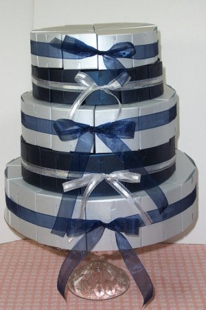 5 Tier Silver/Blue Metallic Cake Party Favor Boxes........Give a Little Slice of Thanks