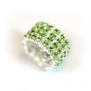 4 row stretch rhinestone ring - green rhinestones