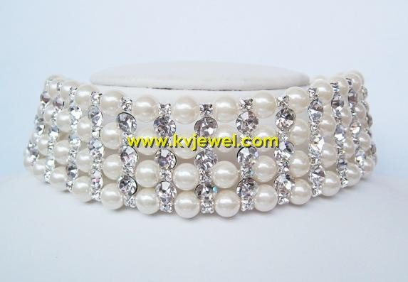 Pearl and rhinestone choker