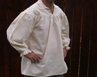 Mens Drop Yoke L or XL Renaissance Primitive Pirate Poet Theatre Shirt