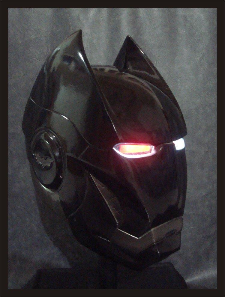 Custom Made Iron Bat Life Size Helmet Superhero Prop