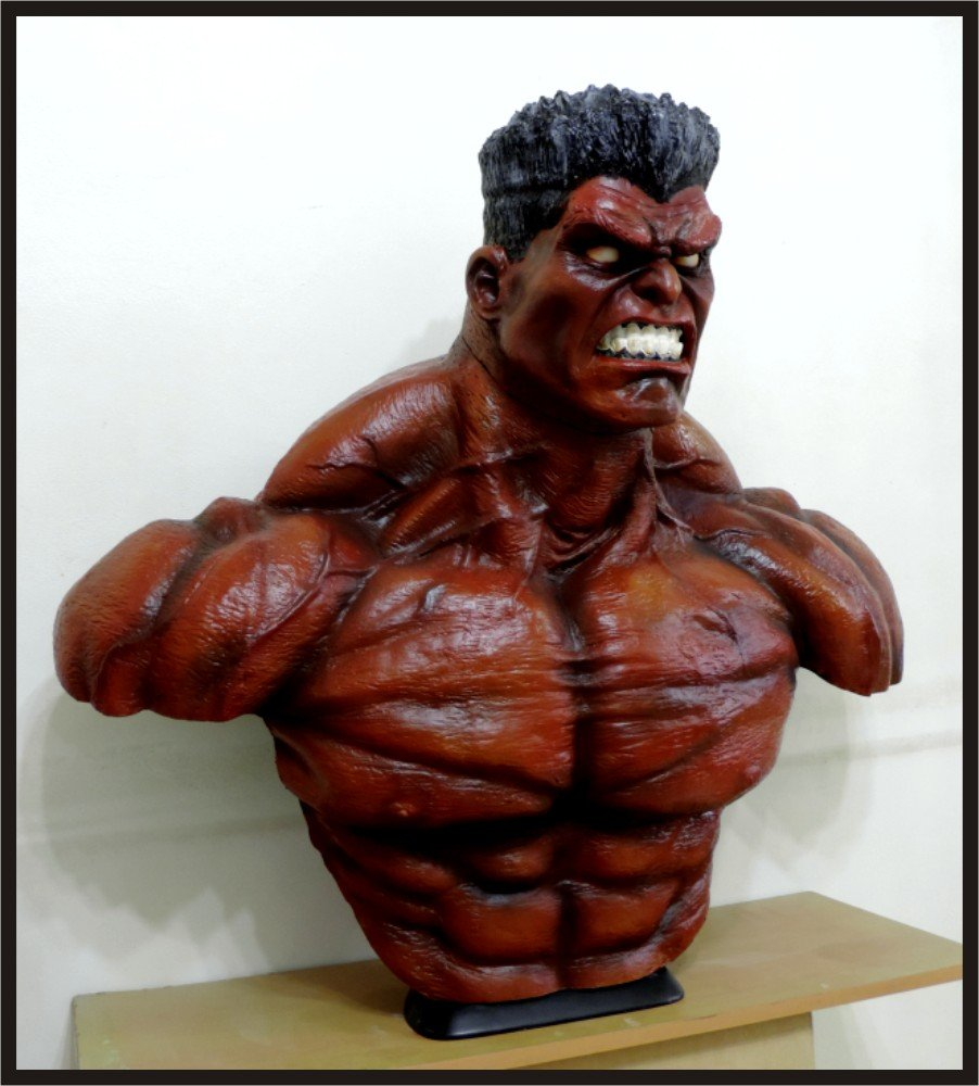 Custom Made Life Size Thunderbolt Ross Red-Hulk Superhero Bust Statue Prop
