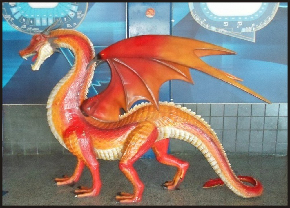 Custom Made Life Size 6-1/2' tall 9' long Dragon Statue SCA-LARP