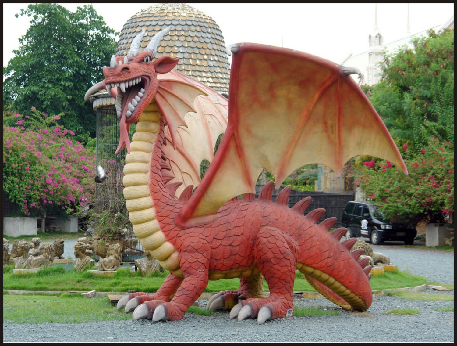 Custom Made Life Size 13' tall 13' long Dragon Statue SCA-LARP